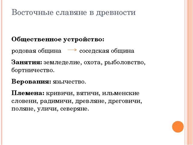 Восточные славяне в древности Общественное устройство: родовая община соседск...