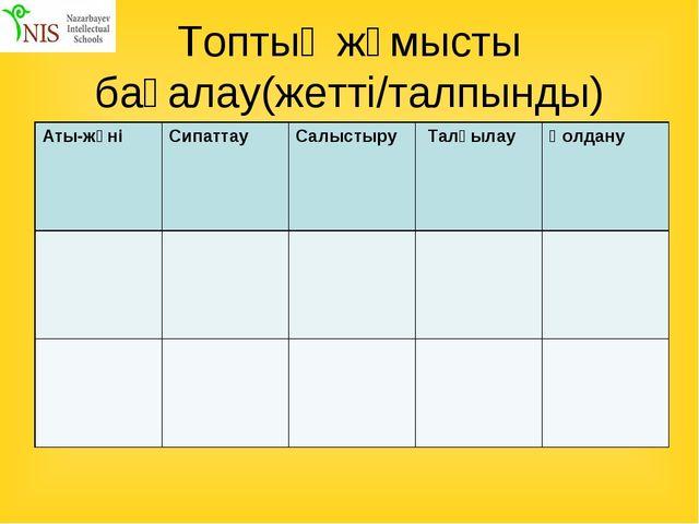 Топтық жұмысты бағалау(жетті/талпынды) Аты-жөніСипаттау Салыстыру  Талқыла...