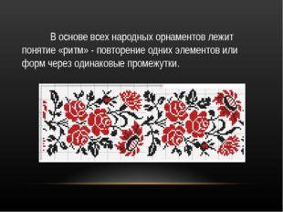 В основе всех народных орнаментов лежит понятие «ритм» - повторение одних эл
