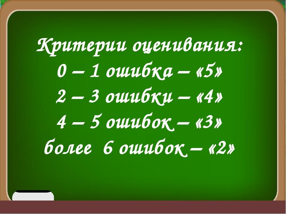 Критерии оценивания: 0 – 1 ошибка – «5» 2 – 3 ошибки – «4» 4 – 5 ошибок – «3...