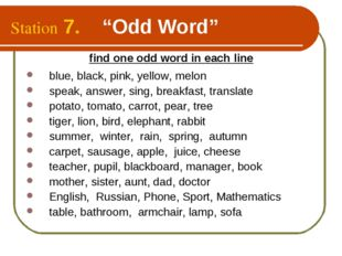 """Station 7. """"Odd Word"""" find one odd word in each line blue, black, pink, yello"""
