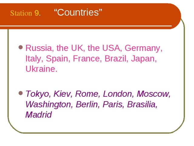 """Station 9. """"Countries"""" Russia, the UK, the USA, Germany, Italy, Spain, Franc..."""