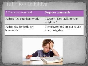"tell + to + infinitive Affirmative commands Negative commands Father: ""Do you"