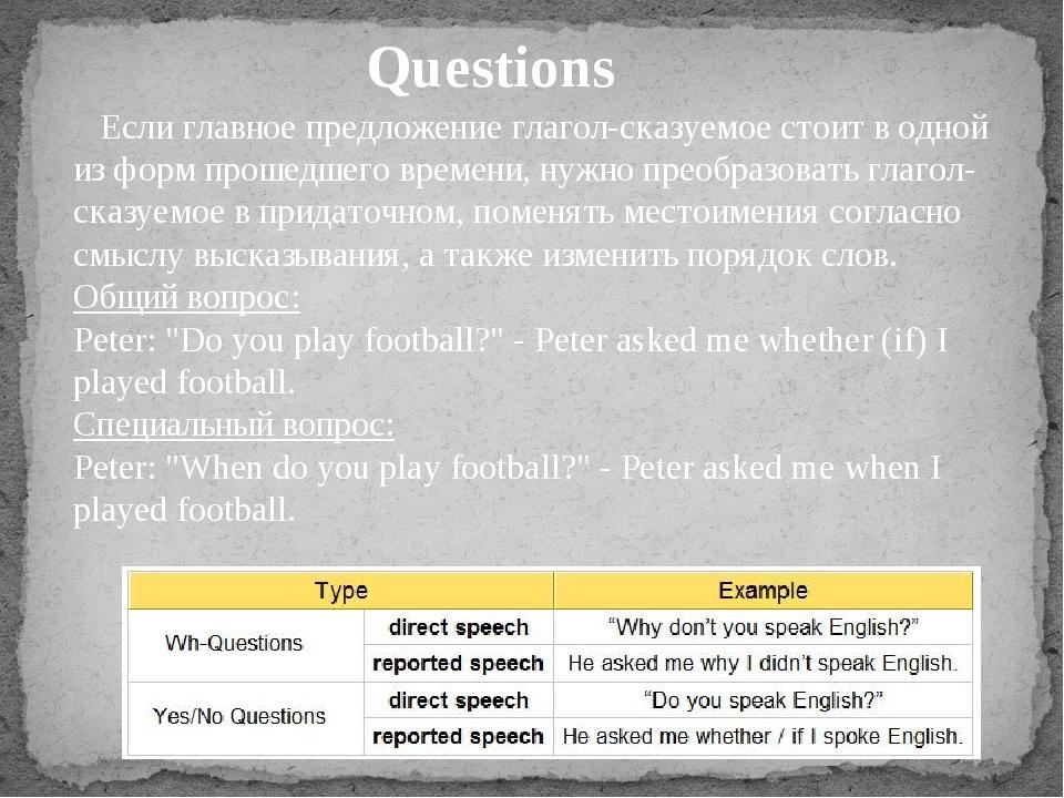 Questions Если главное предложение глагол-сказуемое стоит в одной из форм пр...