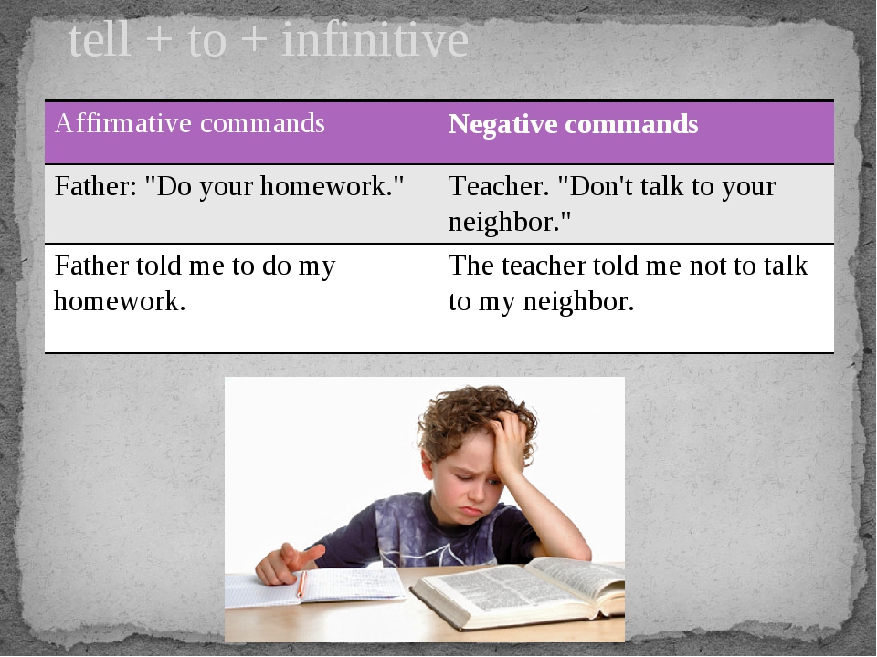 "tell + to + infinitive Affirmative commands Negative commands Father: ""Do you..."