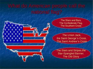 What do American people call the national flag? The Stars and Stripes,the Sta