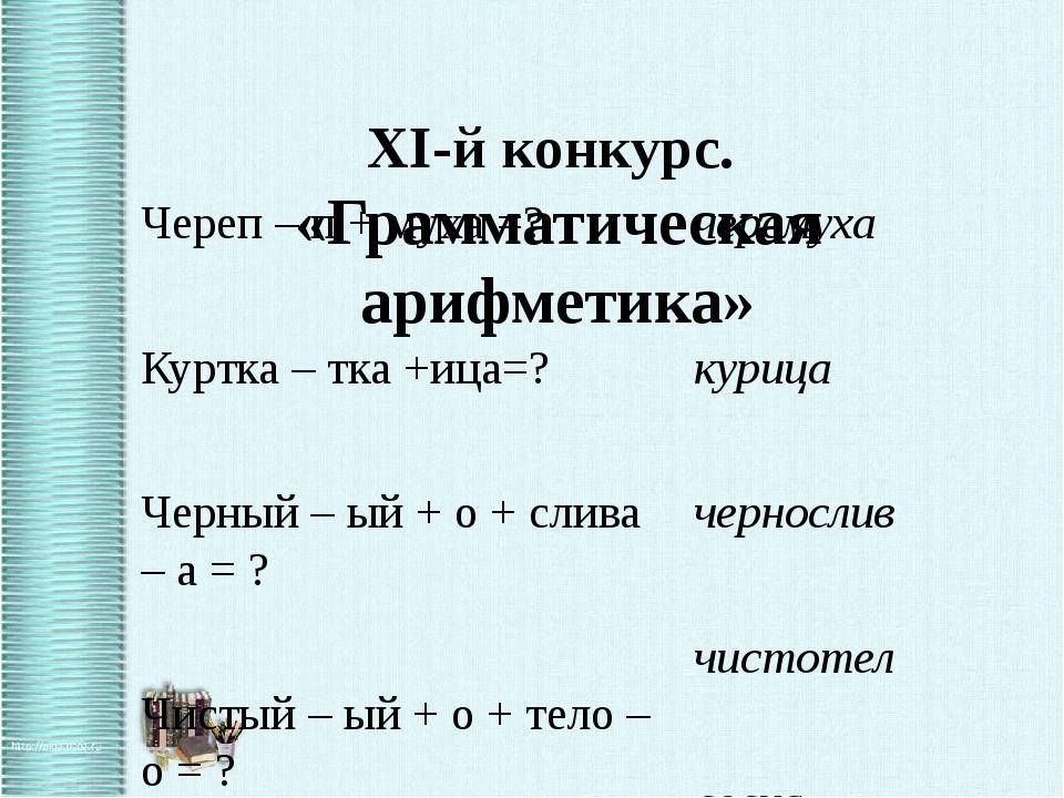 XI-й конкурс.  «Грамматическая арифметика»  Череп – п + муха =?         Кур...