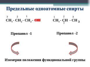 СН3 - СН2 - СН2 - ОН СН3 - СН - СН 3 ОН Пропанол -1 Пропанол -2 Изомерия поло