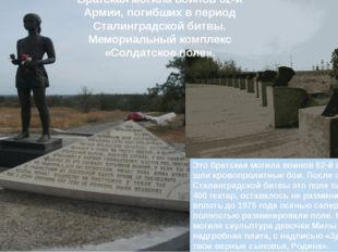 Это братская могила воинов 62-й армии здесь шли кровопролитные бои. После ок
