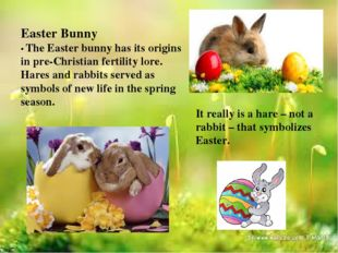 Easter Bunny • The Easter bunny has its origins in pre-Christian fertility lo