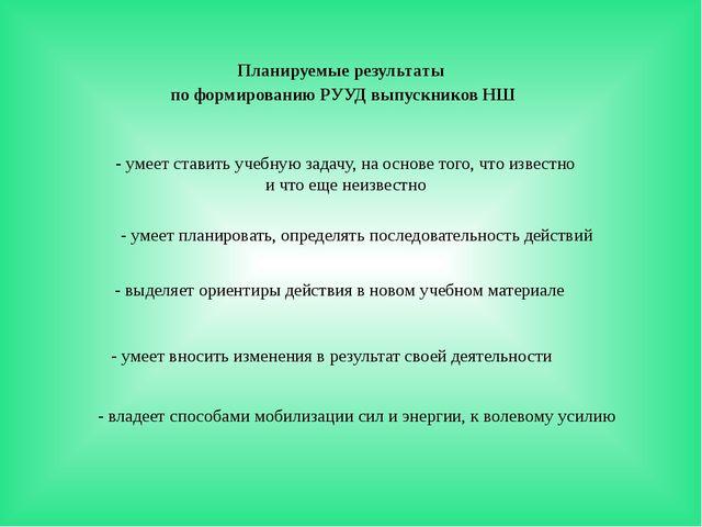 Планируемые результаты по формированию РУУД выпускников НШ - умеет ставить уч...
