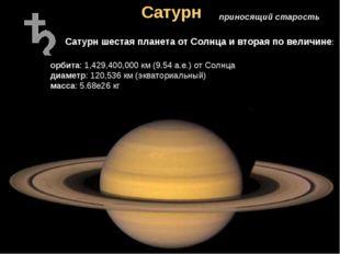 Сатурн приносящий старость Сатурн шестая планета от Солнца и вторая по величи