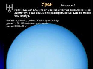 Уран Магический Уран седьмая планета от Солнца и третья по величине (по диаме