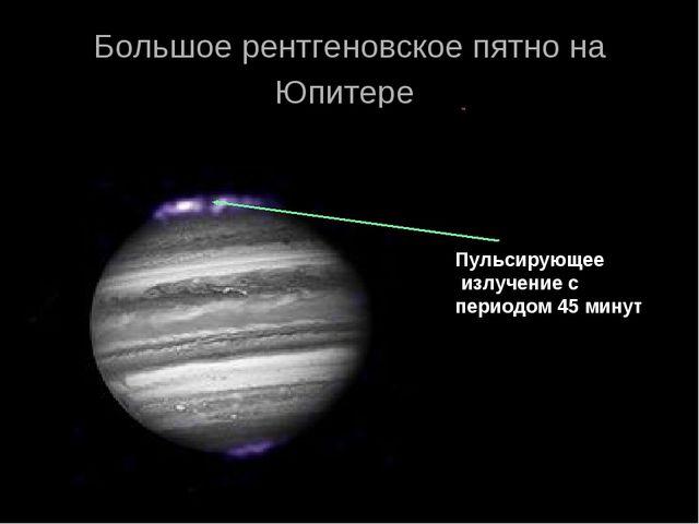 Большое рентгеновское пятно на Юпитере Пульсирующее излучение с периодом 45 м...