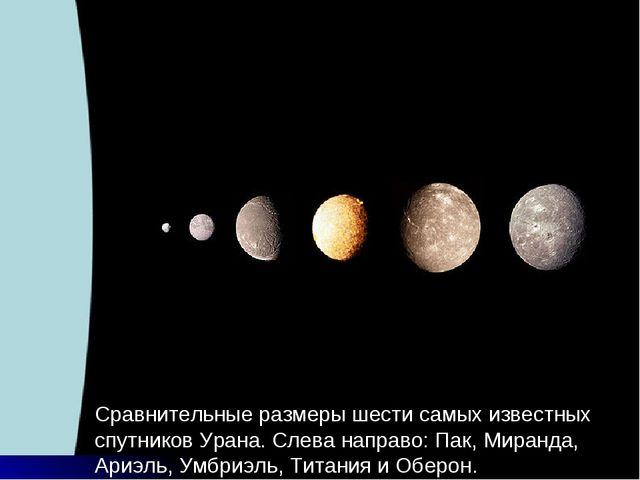 Сравнительные размеры шести самых известных спутников Урана. Слева направо: П...