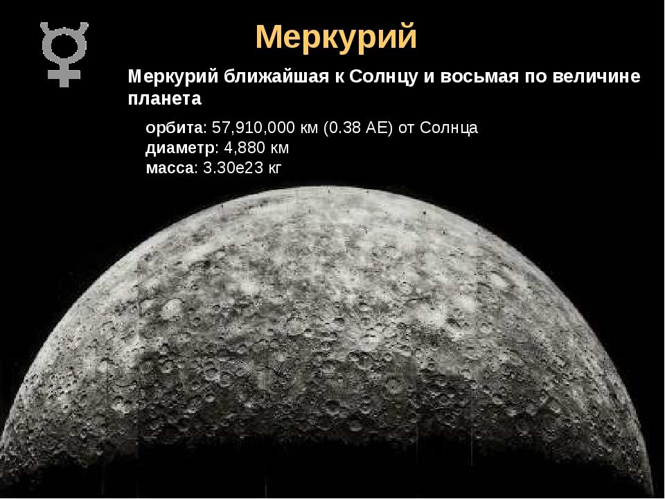 Меркурий Меркурий ближайшая к Солнцу и восьмая по величине планета орбита: 57...
