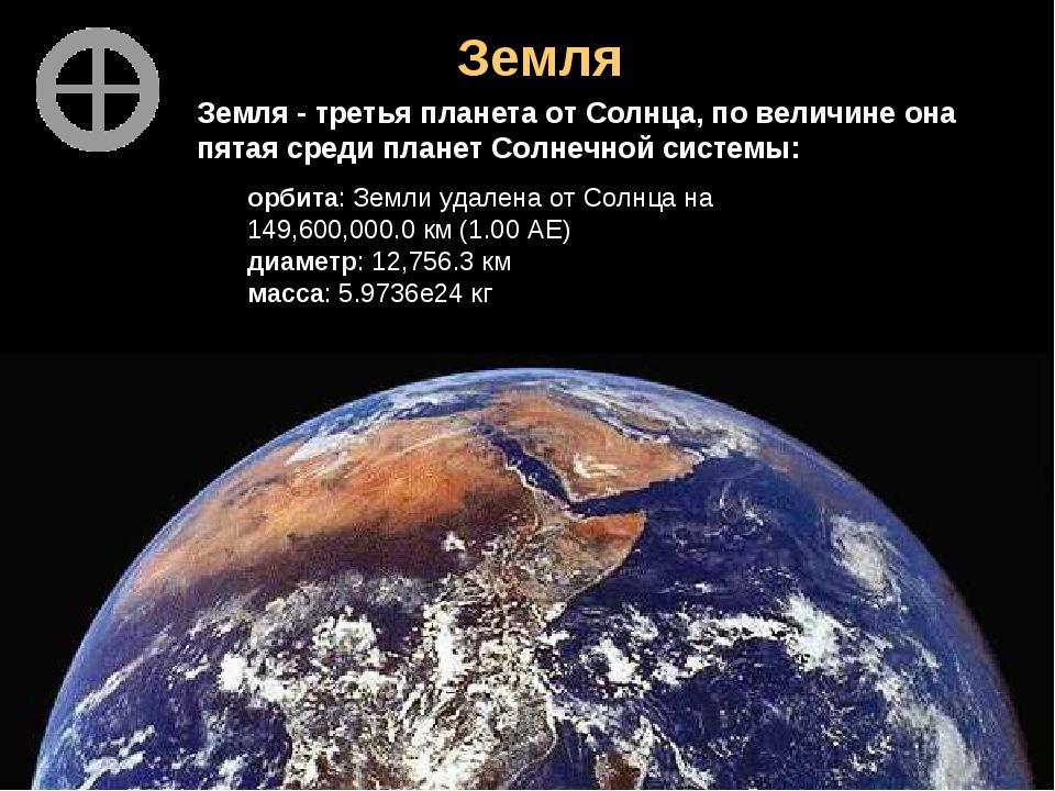 Земля Земля - третья планета от Солнца, по величине она пятая среди планет Со...