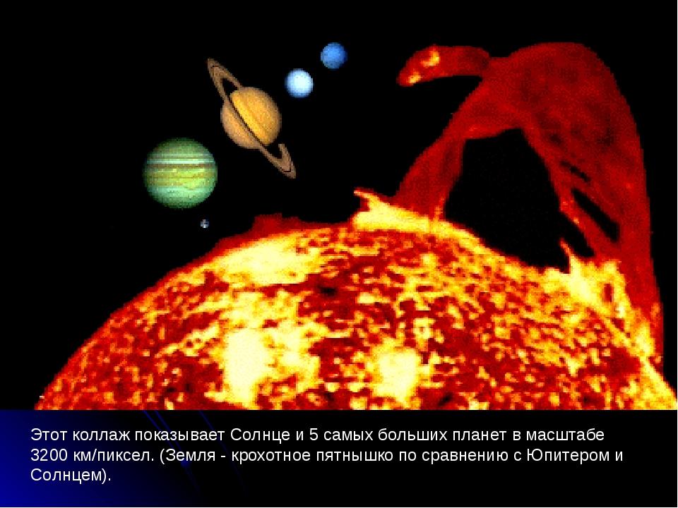 Этот коллаж показывает Солнце и 5 самых больших планет в масштабе 3200км/пи...