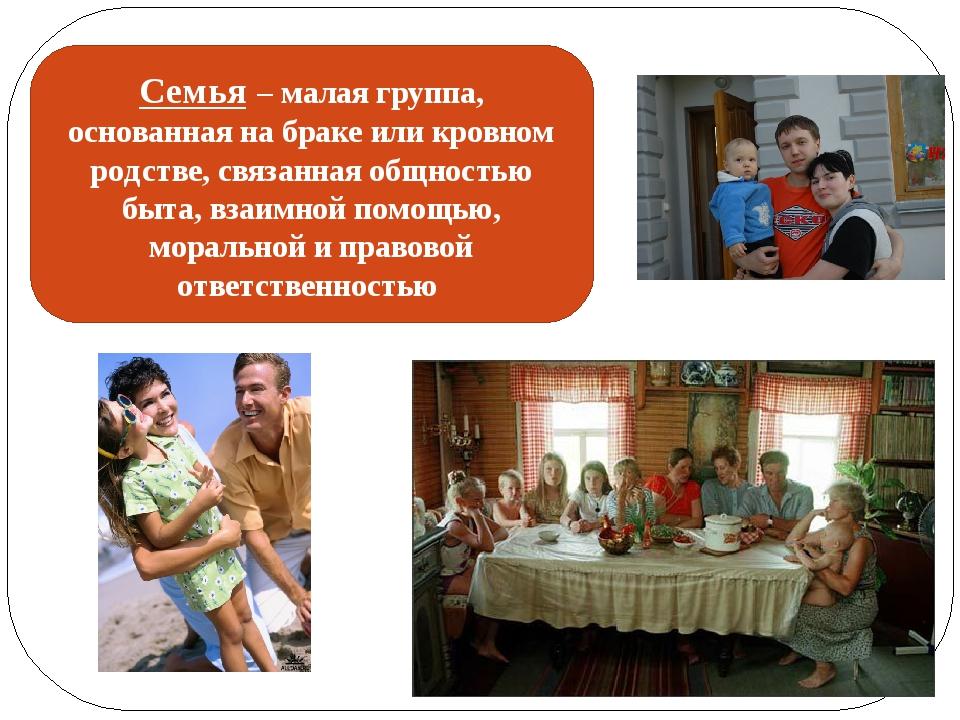 Семья – малая группа, основанная на браке или кровном родстве, связанная общн...