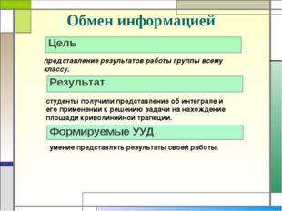 Обмен информацией Цель Результат представление результатов работы группы всем