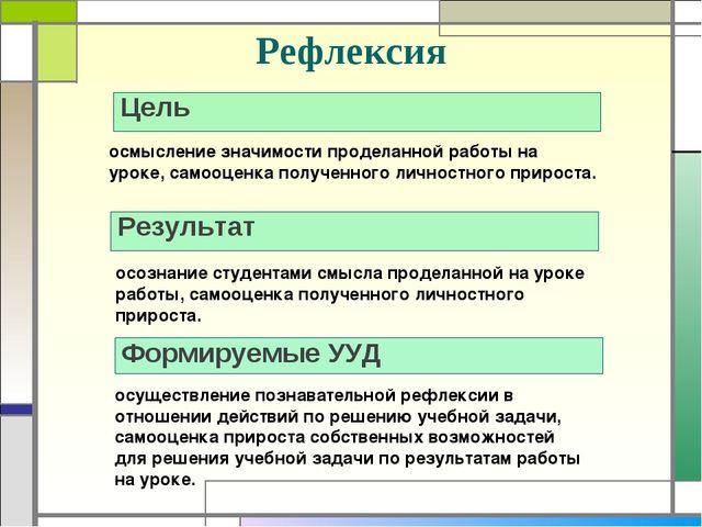 Рефлексия Цель Результат осмысление значимости проделанной работы на уроке, с...