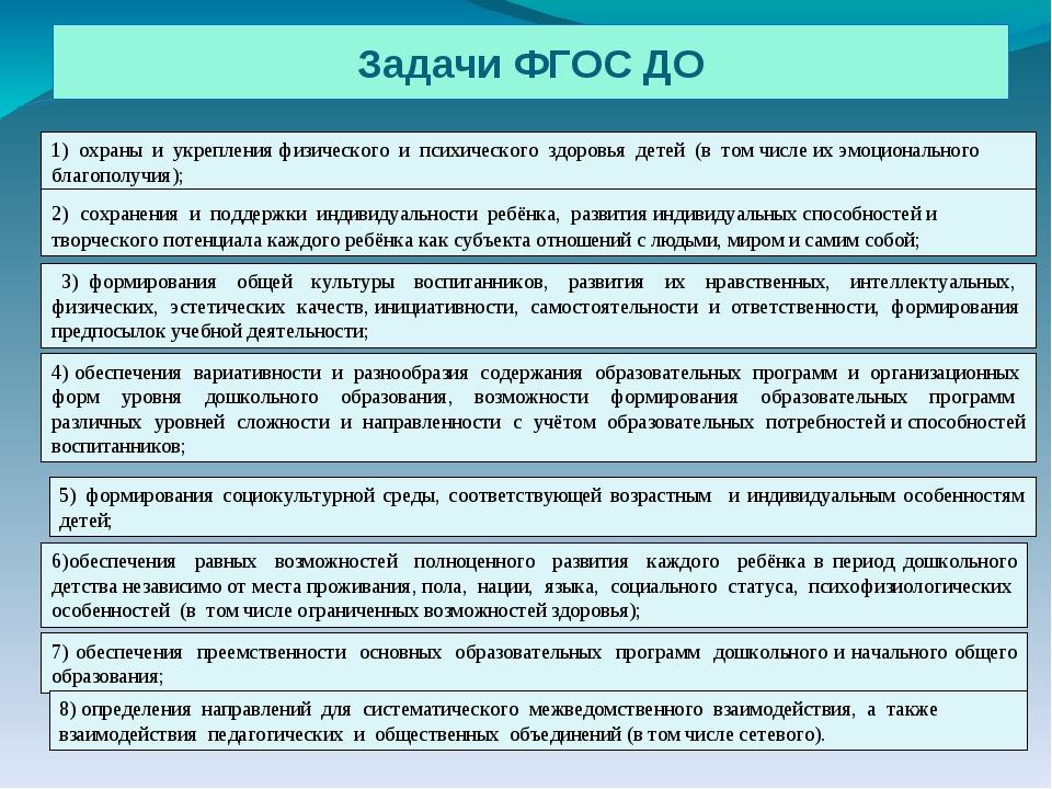 Задачи ФГОС ДО 1) охраны и укрепления физического и психического здоровья дет...