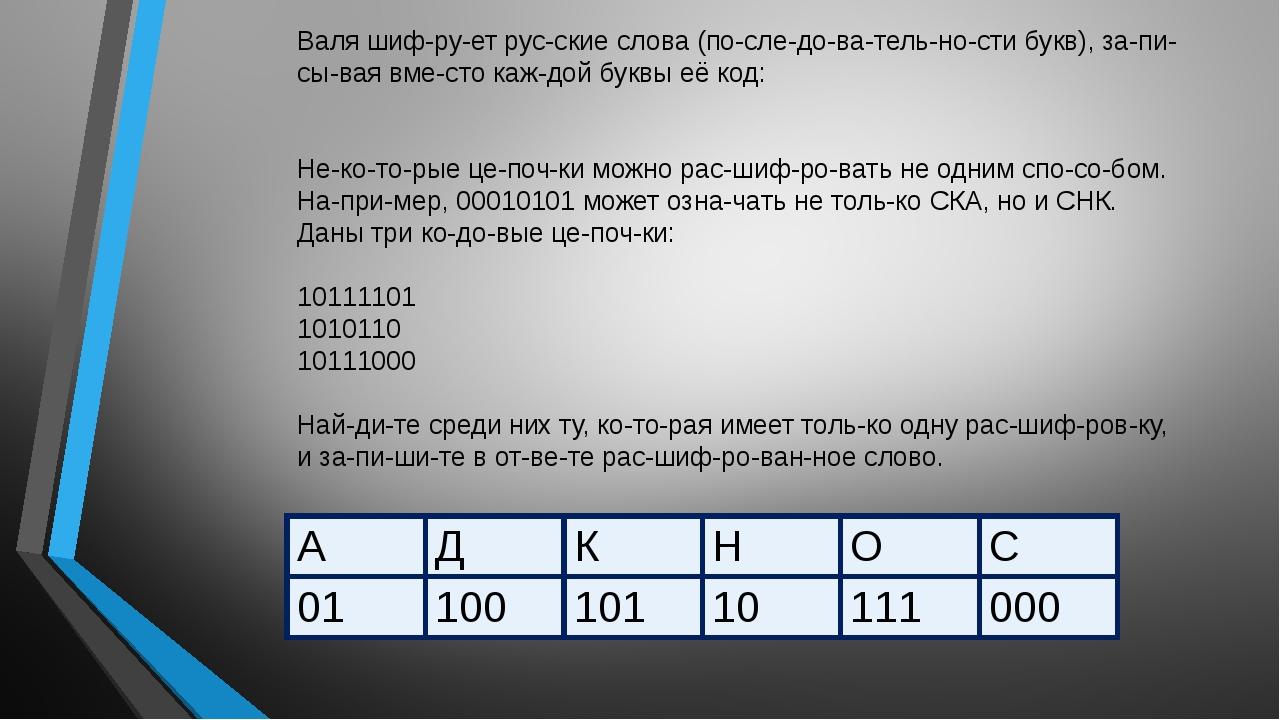 Валя шифрует русские слова (последовательности букв), записывая в...