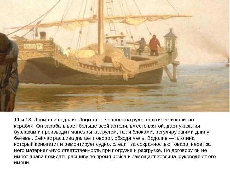 11 и 13. Лоцман и водолив Лоцман — человек на руле, фактически капитан корабл...