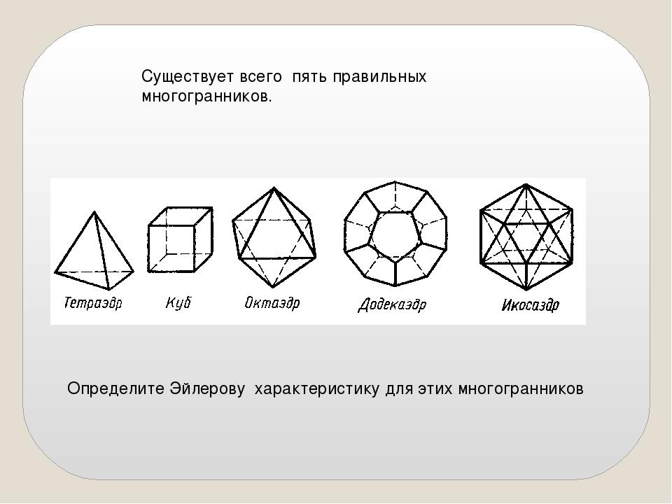 Существует всего пять правильных многогранников. Определите Эйлерову характер...
