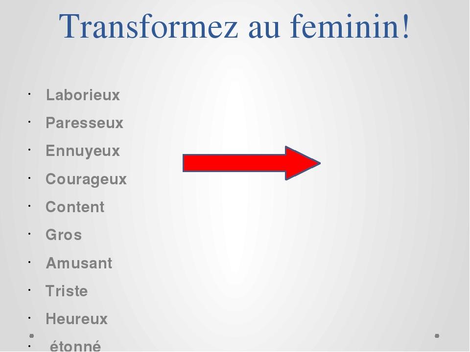 Transformez au feminin! Laborieux Paresseux Ennuyeux Courageux Content Gros A...