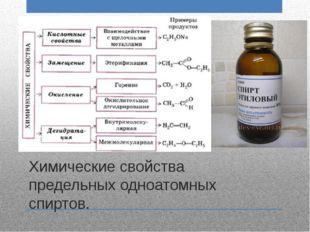 Химические свойства предельных одноатомных спиртов.