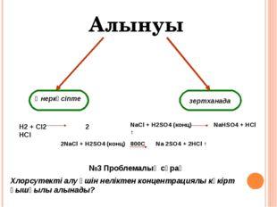 Өнеркәсіпте зертханада H2 + Cl2 2 HCl NaCl + H2SO4 (конц) NaHSO4 + HCl ↑ 2Na