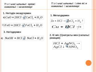 Тұз қышқылының ортақ химиялық қасиеттері Тұз қышқылының өзіне тән химиялық қ