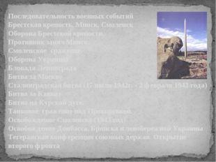 Последовательность военных событий Брестская крепость, Минск, Смоленск Оборо