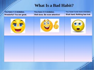 What Is a Bad Habit? You have 1-2 mistakes. Wonderful! You are great. You ha
