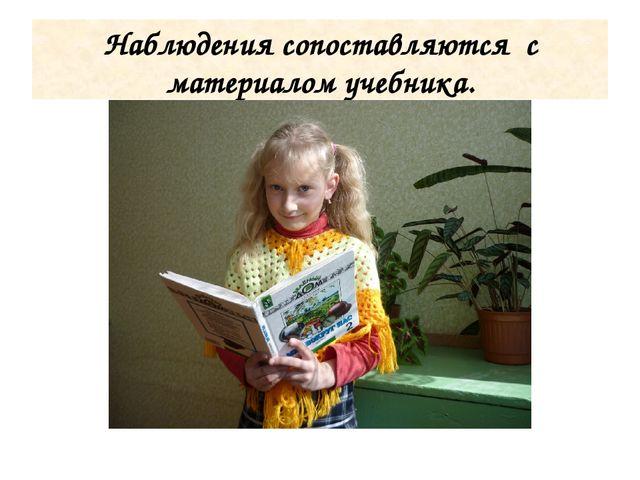 Наблюдения сопоставляются с материалом учебника.