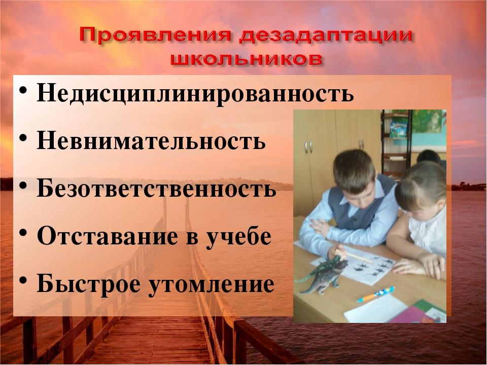 Недисциплинированность Невнимательность Безответственность Отставание в учебе...