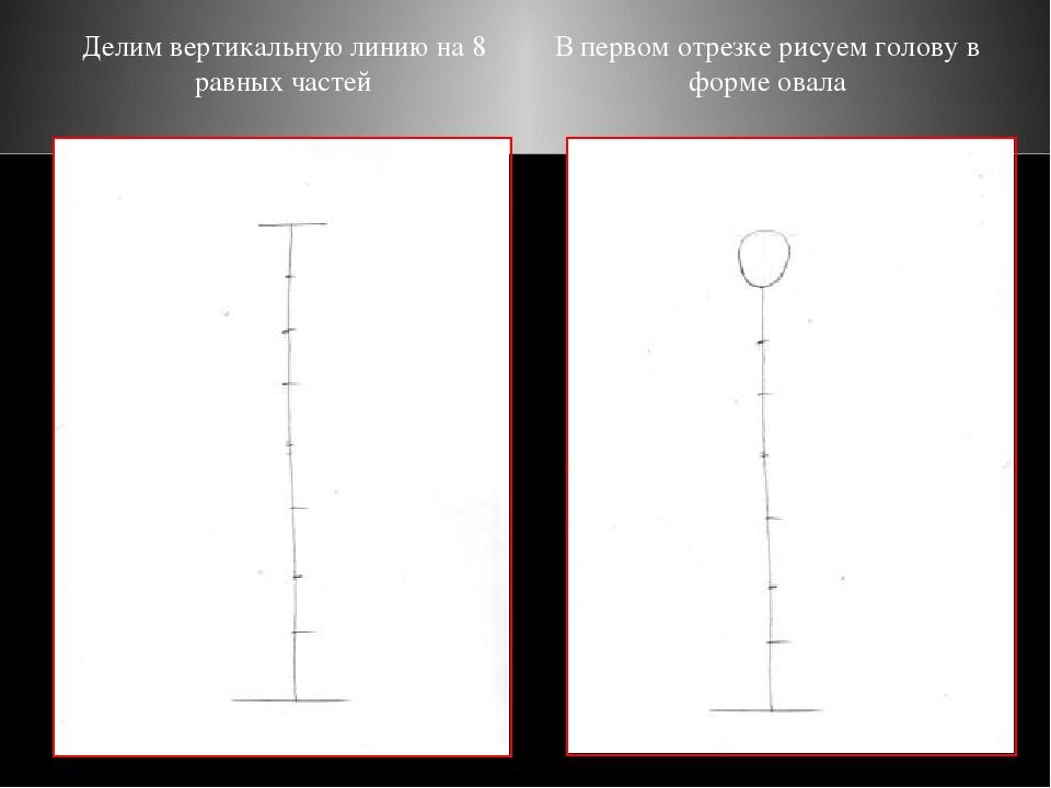 Делим вертикальную линию на 8 равных частей В первом отрезке рисуем голову в...