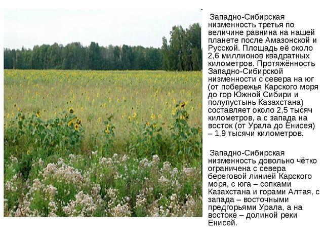 Западно-Сибирская низменность третья по величине равнина на нашей планете по...