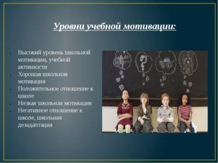 Уровни учебной мотивации: Высокий уровень школьной мотивации, учебной активно