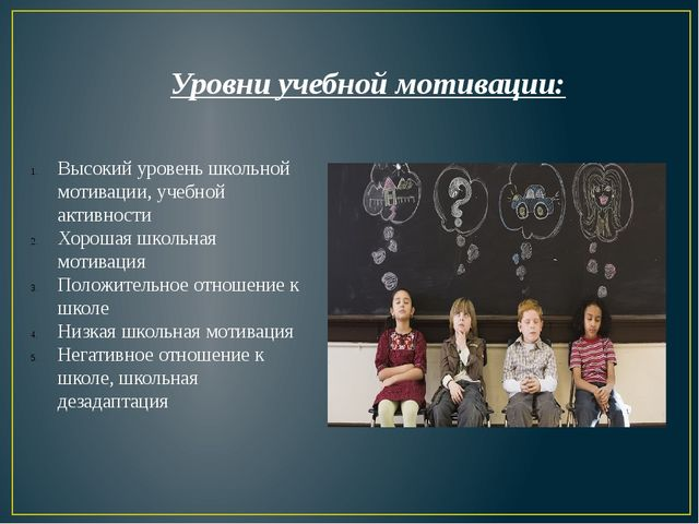 Уровни учебной мотивации: Высокий уровень школьной мотивации, учебной активно...