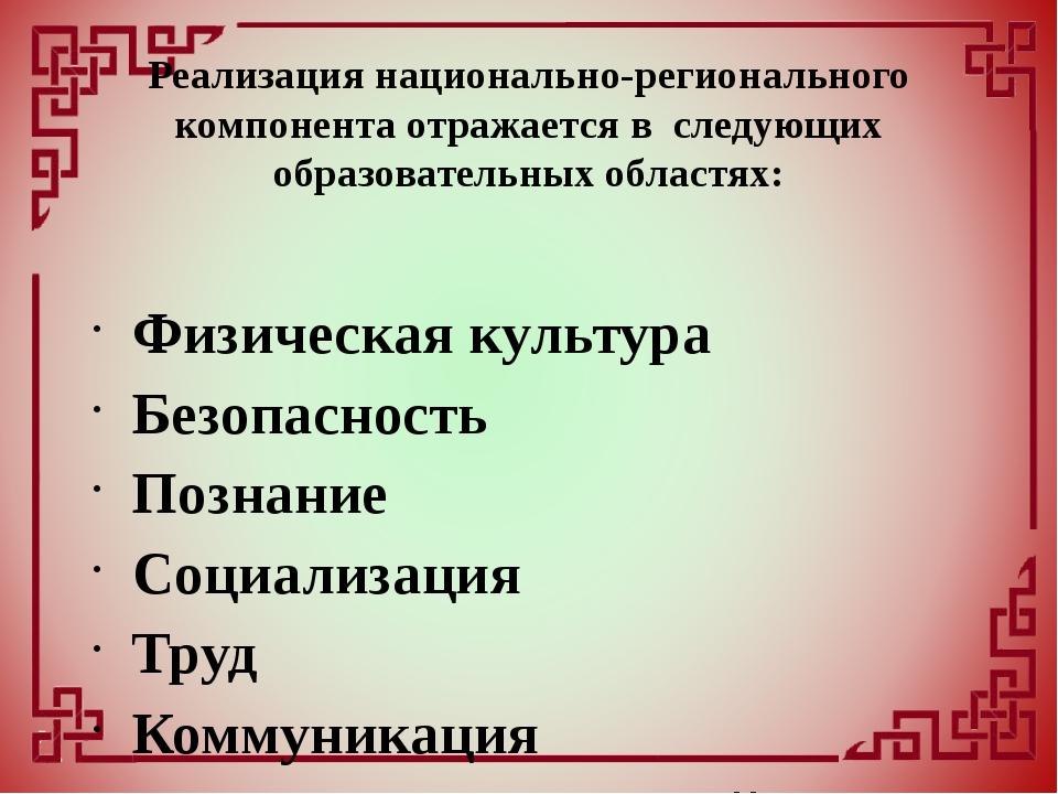 Физическая культура Безопасность Познание Социализация Труд Коммуникация Чте...