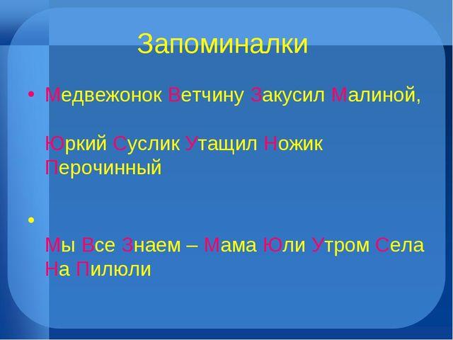 Запоминалки Медвежонок Ветчину Закусил Малиной, Юркий Суслик Утащил Ножик Пер...