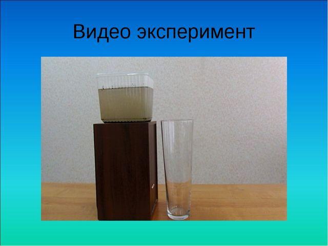 Видео эксперимент