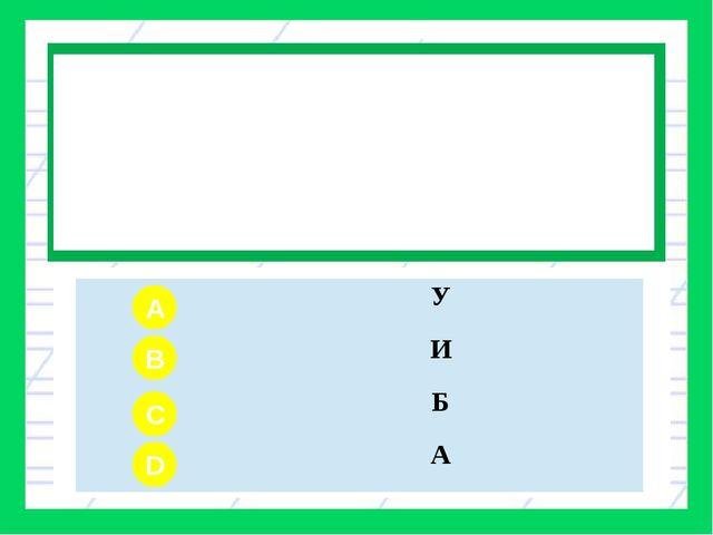 Вопрос № 2 Какой звук согласный? A B C D У И Б А