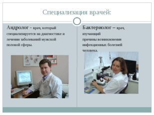Специализация врачей: Андролог - врач, который специализируется на диагностик