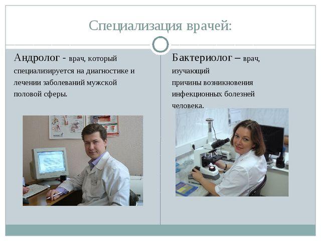 Специализация врачей: Андролог - врач, который специализируется на диагностик...