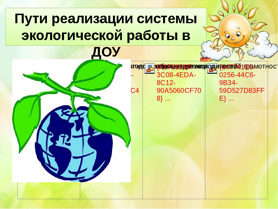 Пути реализации системы экологической работы в ДОУ