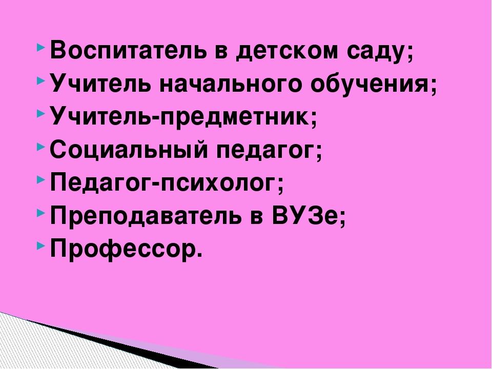 Воспитатель в детском саду; Учитель начального обучения; Учитель-предметник;...