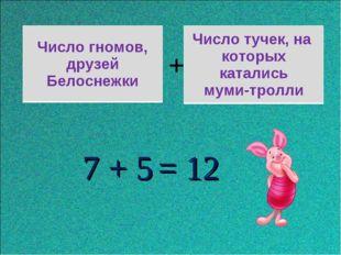 + 7 + 5 = 12 Число гномов, друзей Белоснежки Число тучек, на которых катались